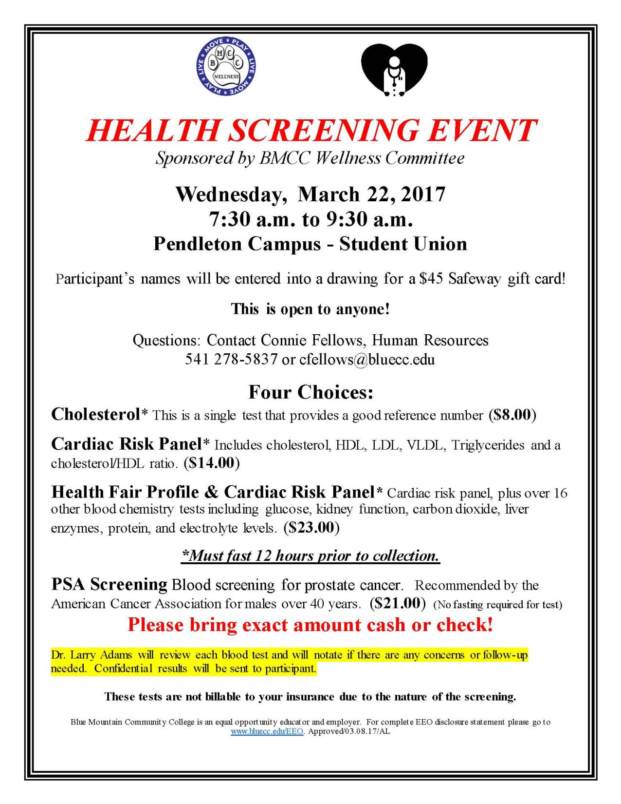 Health Screening Flyer 3'22'17