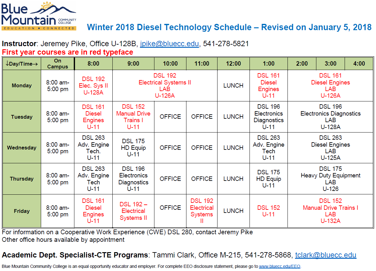 Winter 2018 Diesel Tech Schedule